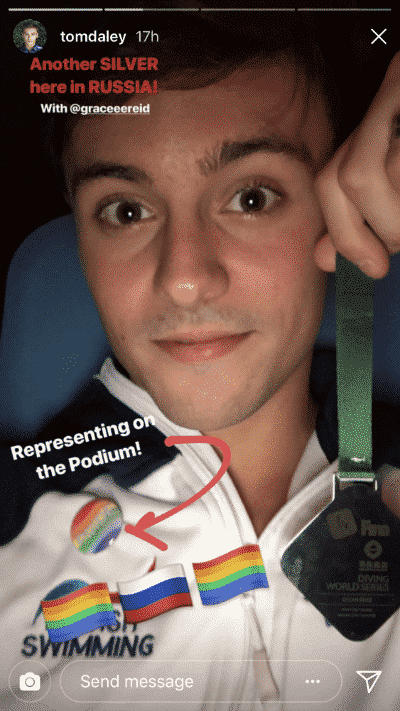 tom daley drapeau arc en ciel