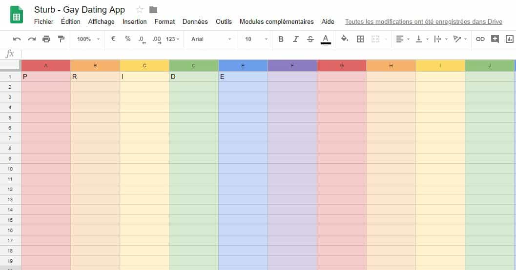 google sheet pride